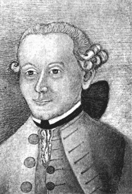 Gräfin Keyserling'in çizimi ile Kant, 1755