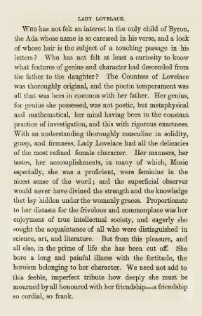 Ada Lovelace ölüm ilanı