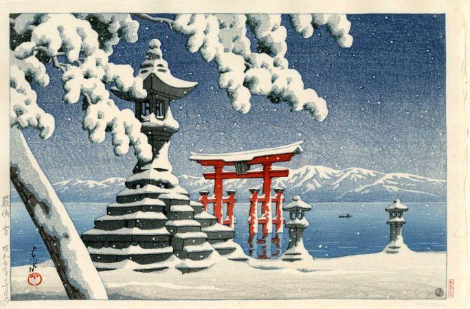 Hasui Kawase, Snow At Itsukushima, 1932