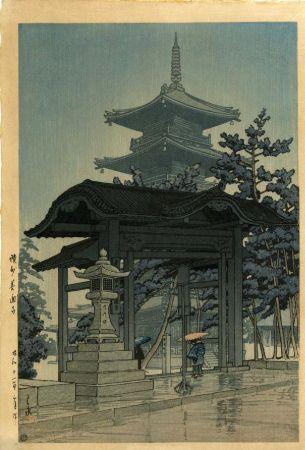 Hasui Kawase, Zentsu Temple in Sanshu, 1937