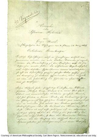 Mendel'in bildirisinin ilk sayfası, Bitki Hibridizasyonunda Deneyler, 1865