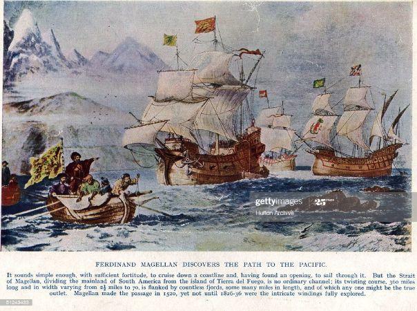 Macellan'ın Pasifik'e giden yolu keşfi, yaklaşık 1520'li yıllardan bir baskı