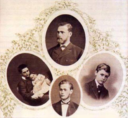 Saat yönünde Robert, Alfred, Ludvig ve Emil (bebek olan), 1843