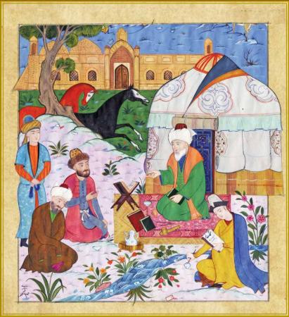 An illustration of Ahmad Yasawi, Ahmet Yesevi University