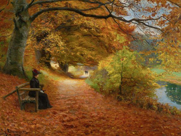 Hans Andersen Brendekilde, A Wooded Path In Autumn,