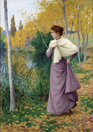 Leopold Francois Kowalsky, Autumn on the Shore of the Lake