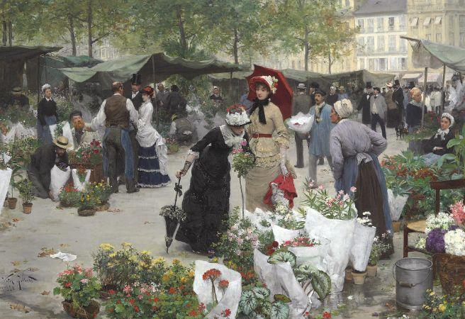 Victor Gabriel Gilbert, Le Marché aux Fleurs, 1880