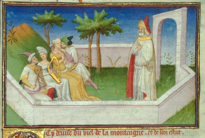 Hassan-i Sabbah Depicted With His Followers And Houris