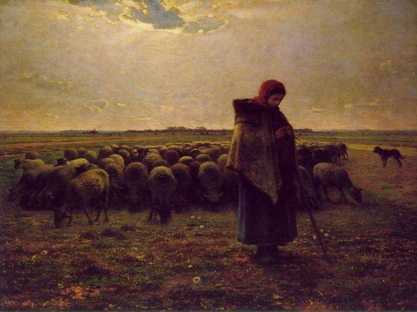 Jean François Millet, Shepherdess With her Flock