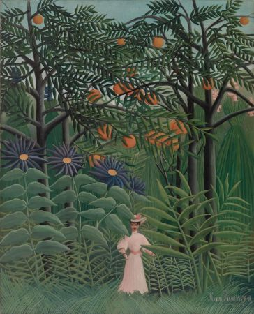 Woman Walking in an Exotic Forest,